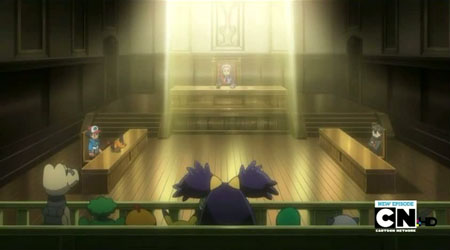 Ash and company in a courtroom.
